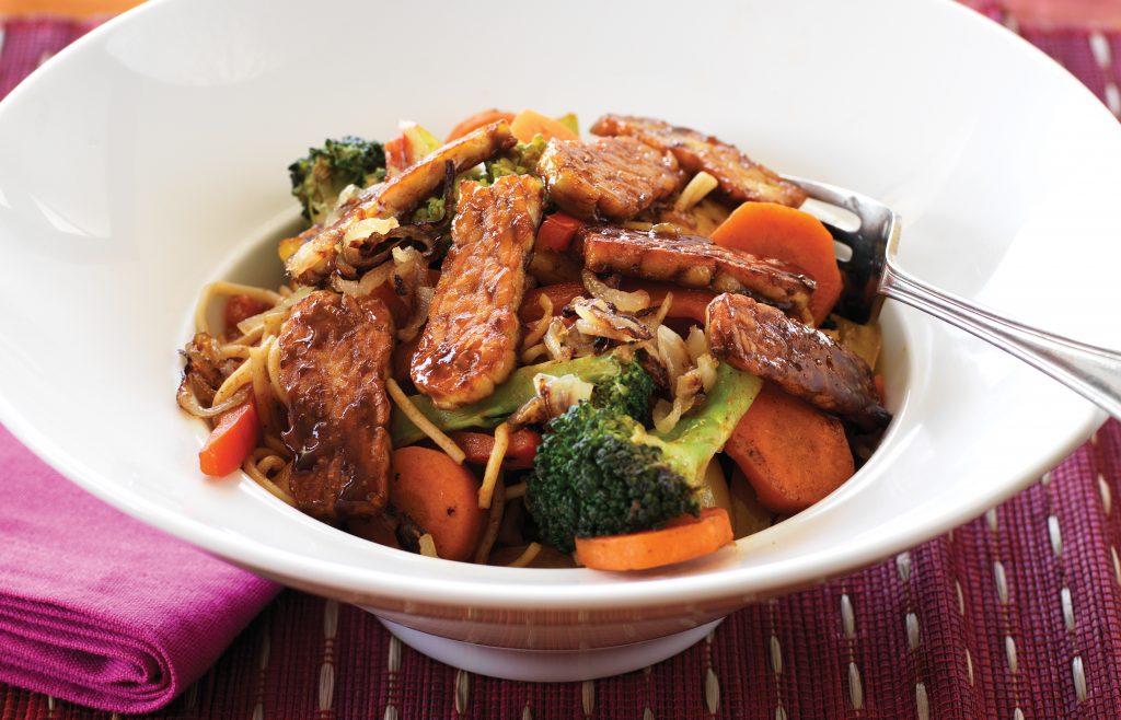 Sweet tempeh and wok-fried vegetables