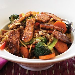 Sweet tempeh and wok-fried vegetables