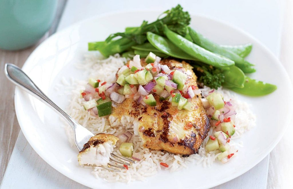 Tandoori fish with cucumber salsa and steamed greens