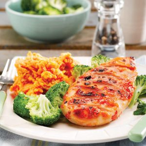 Tangy chicken with curry mash