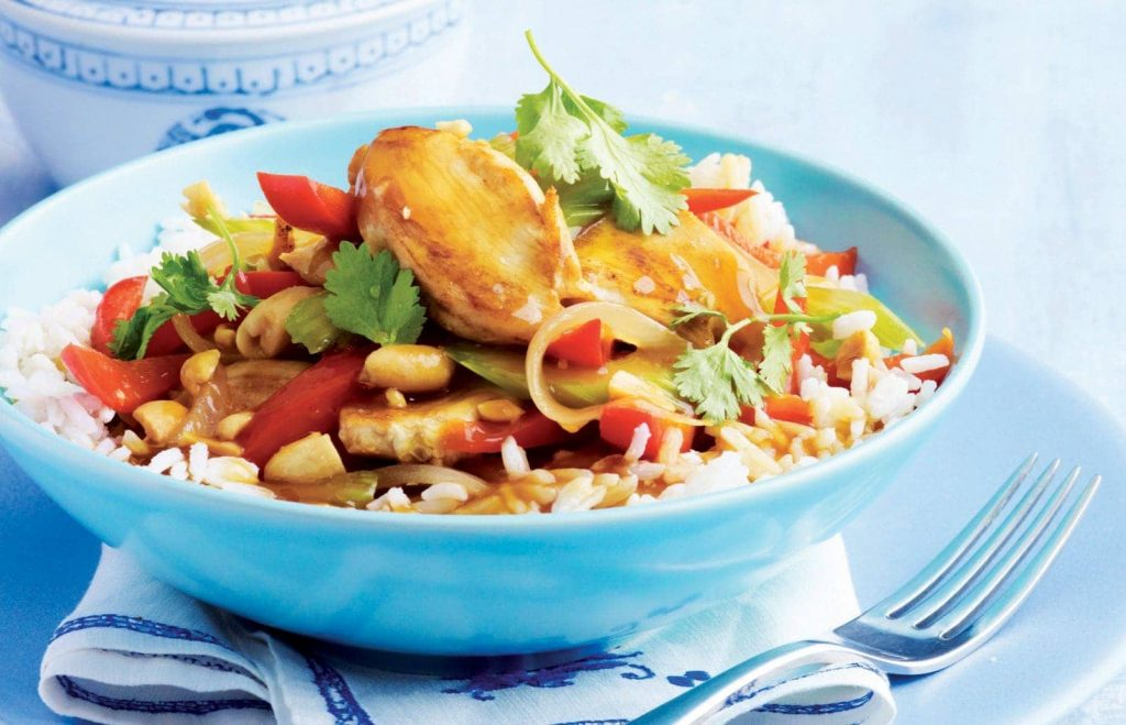 Tasty Chinese chicken with peanuts
