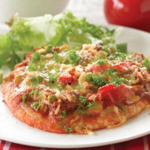 Tasty mince pizza flat bread