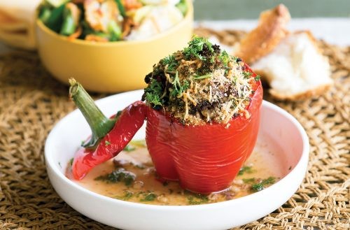 Tasty stuffed capsicums with spring salad