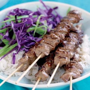 Teriyaki beef skewers with cabbage salad