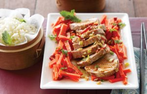 Thai pork with pickled carrots