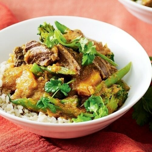 Thai red curry with beef and pumpkin