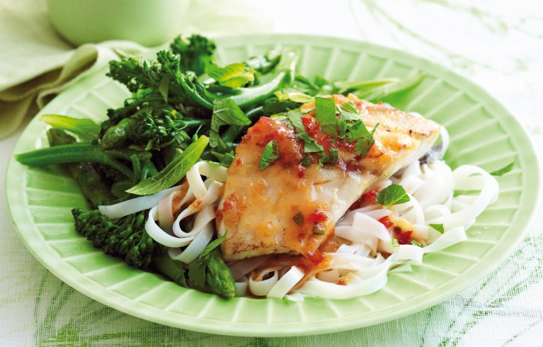 Thai-style fish with fresh herbs