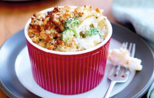 Three-cheese macaroni bake