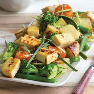 Tofu and roasted vege salad