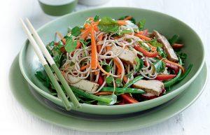 Tofu and vegetable soba noodle salad