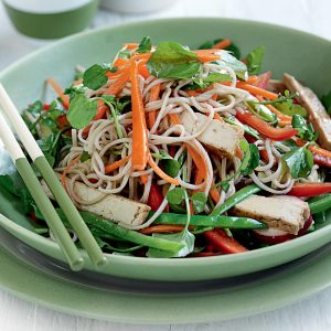 Tofu and vegetable soba noodle salad