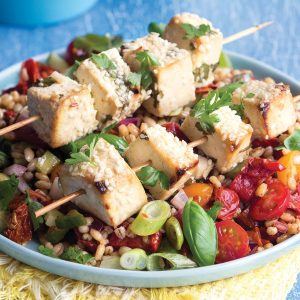 Tofu kebabs with barley salad