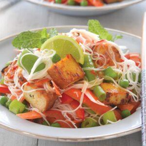 Tofu satay noodle salad