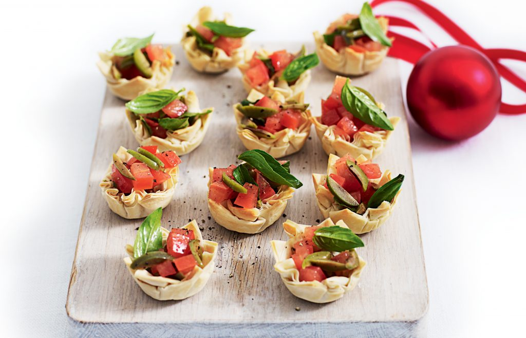 Tomato, olive and basil tarts