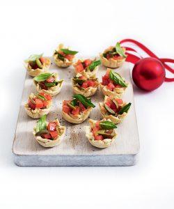Tomato, olive and basil tarts