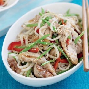 Udon noodles with grilled Asian chicken and snow peas