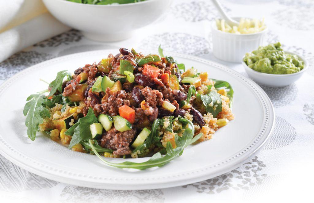 Vege-full chilli with corn quinoa