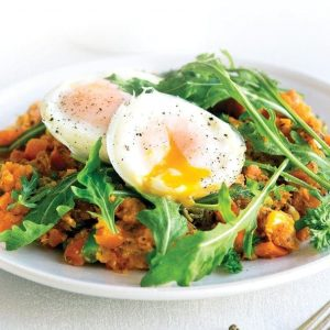 Vege kumara hash with rocket and poached eggs