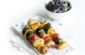 Vegetable and haloumi kebabs with tzatziki coleslaw