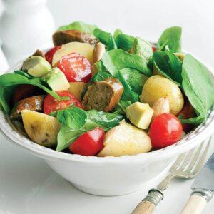 Vegetarian sausage salad