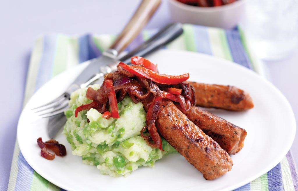 Vegetarian sausages with balsamic onions and pea mash