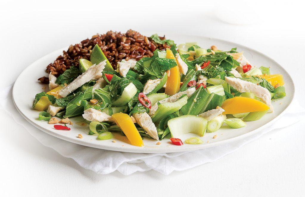 Warm Thai chicken salad with red rice