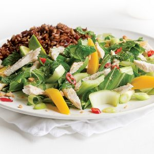 Warm Thai chicken salad with red rice