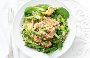 Warm asparagus, pea and salmon rice