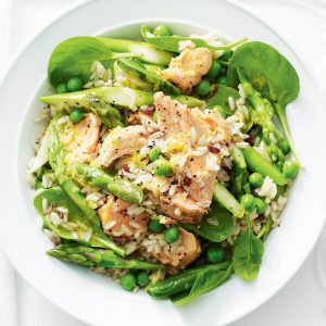 Warm asparagus, pea and salmon rice