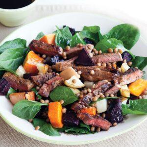 Warm beef and lentil salad