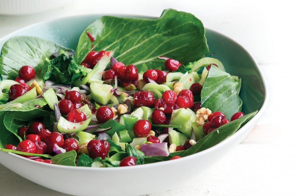 Warm bok choy and cranberry salad