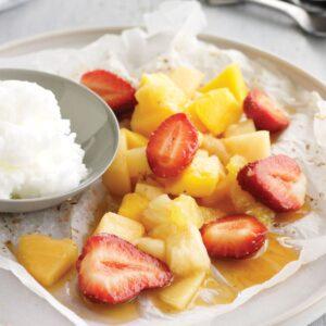 Warm fruit parcels with lemon sorbet