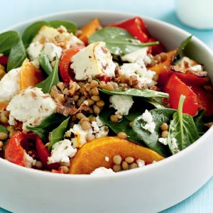 Warm ricotta and roasted pumpkin salad