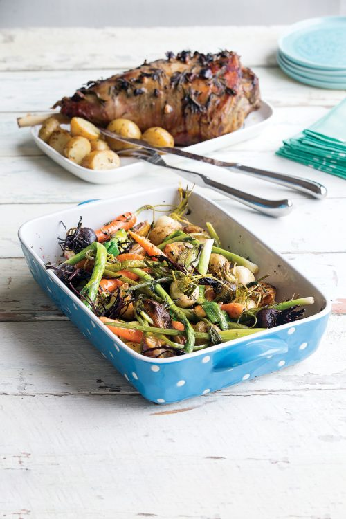 Warm roasted new potatoes and baby seasonal vegetables