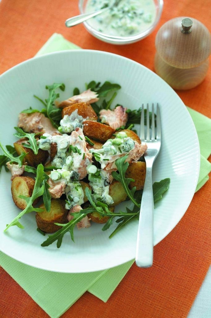 Warm salmon and potato salad