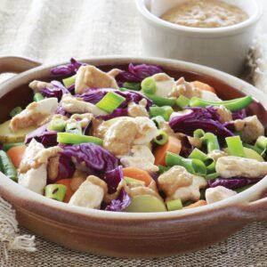 Warm satay chicken salad