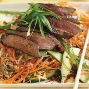 Wasabi ginger beef and sushi salad