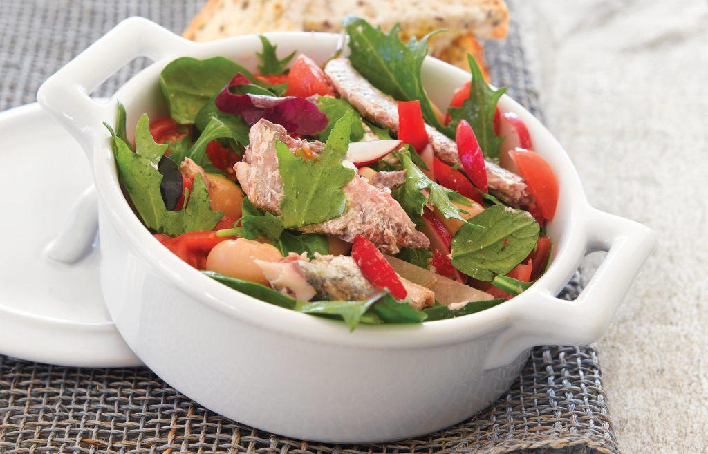 White bean salad with sardines