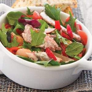 White bean salad with sardines