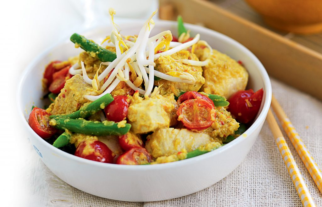 White fish, coconut and green bean curry