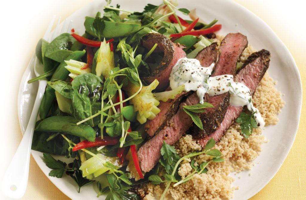 Za'atar lamb with celery salad and mint yoghurt