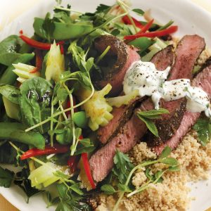 Za'atar lamb with celery salad and mint yoghurt