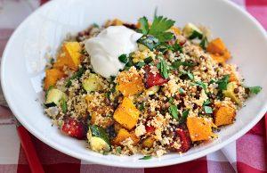 Za'atar-roasted vegetable, lentil and couscous pilaf
