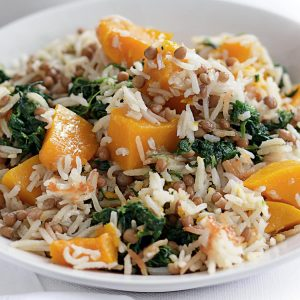 Lentil, pumpkin and spinach rice