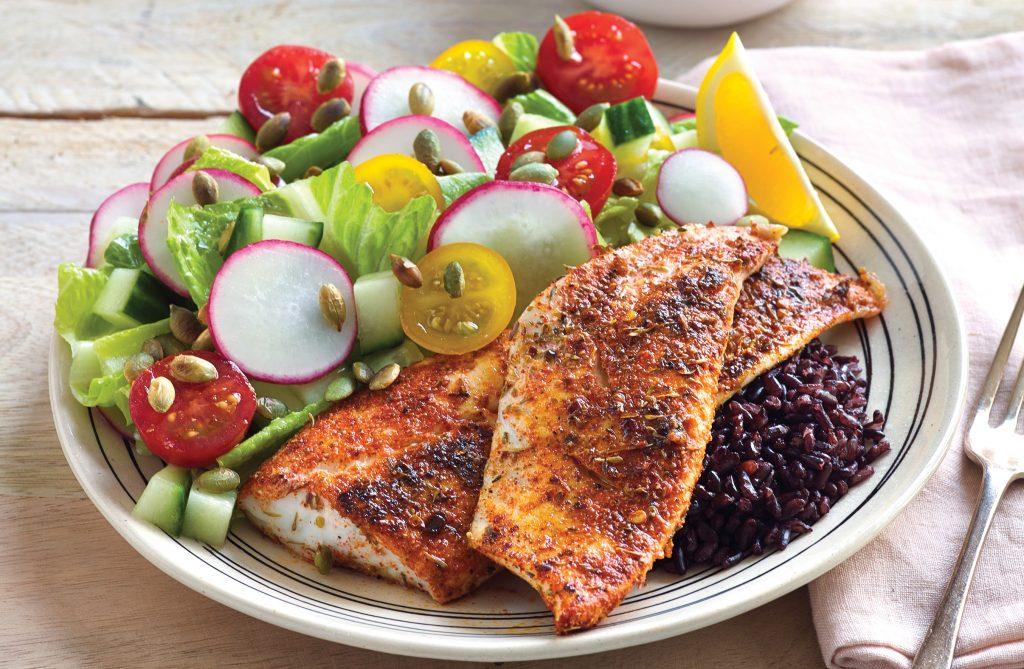 Cajun fish on black rice salad