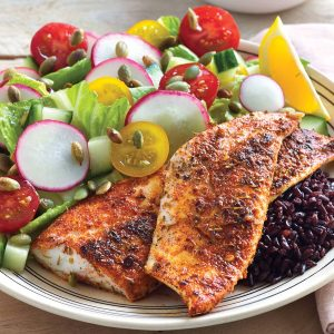 Cajun fish on black rice salad