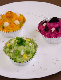 Colourful savoury 'cupcakes'