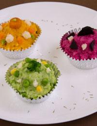 Colourful savoury 'cupcakes'