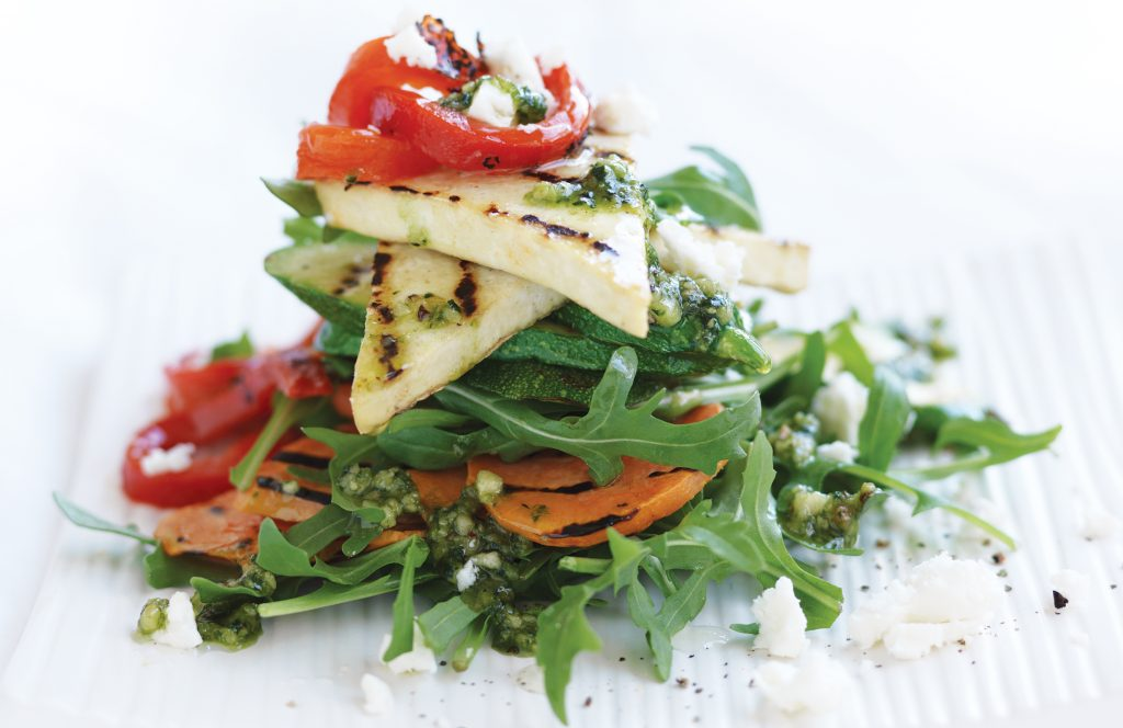 Grilled vege and tofu stack