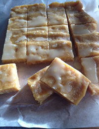 Variations on almond, coconut and lemon slice